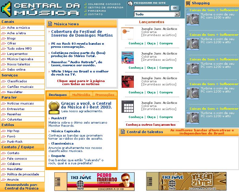 Esboço do último layout do site